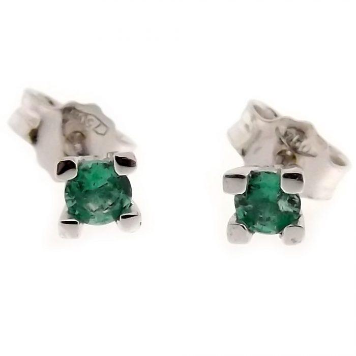 orecchini punto luce in ro con smeraldo