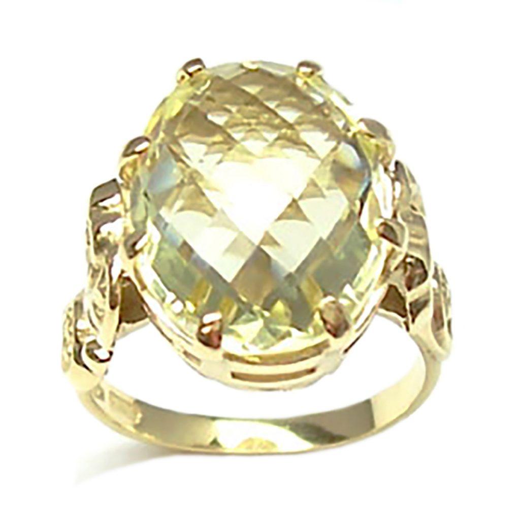 anello solitario quarzo lemon
