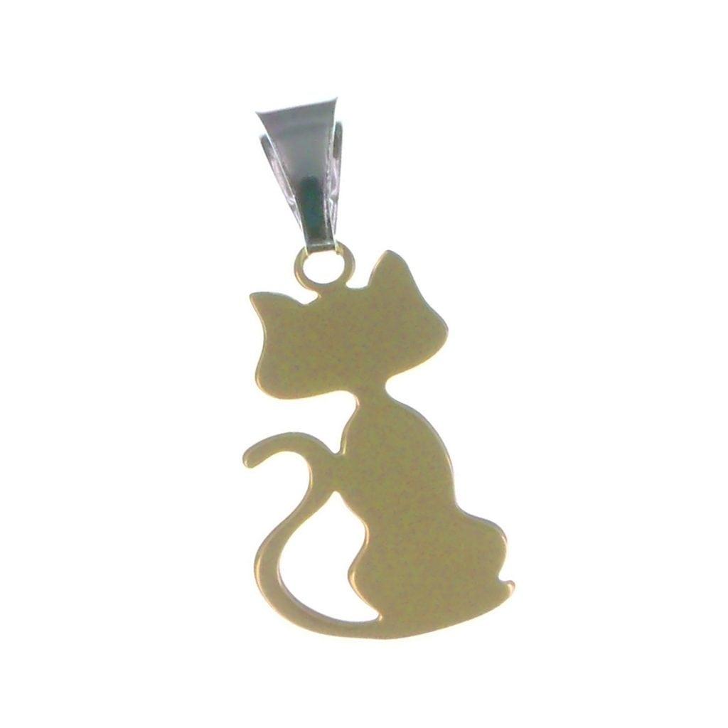 in vendita 5dd5d 7c65d Ciondolo Gatto, gioiello pendente in argento dorato