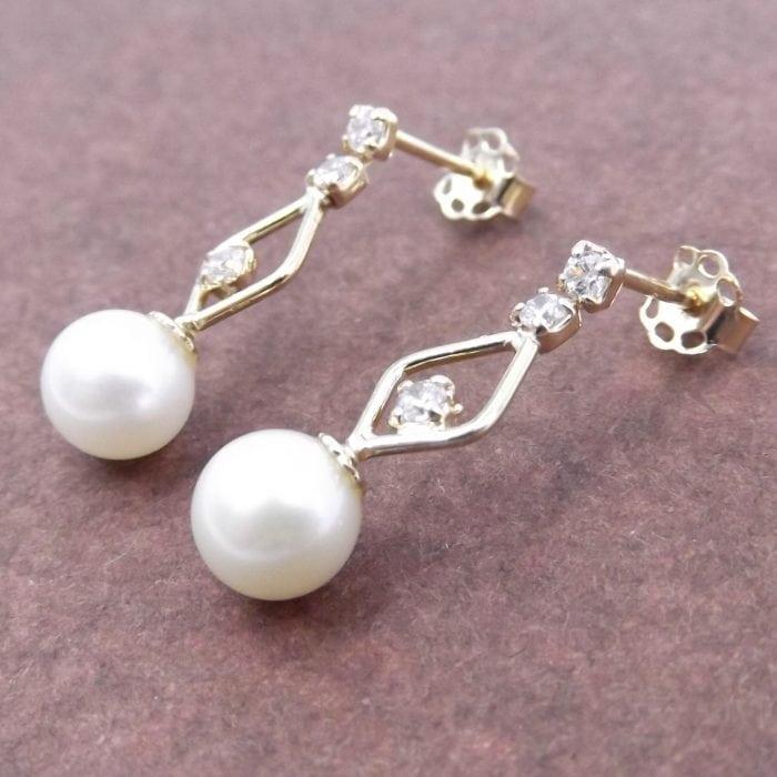 Orecchini in oro 14kt con perle e zirconi Prodotti Handmade Gioiello Italiano