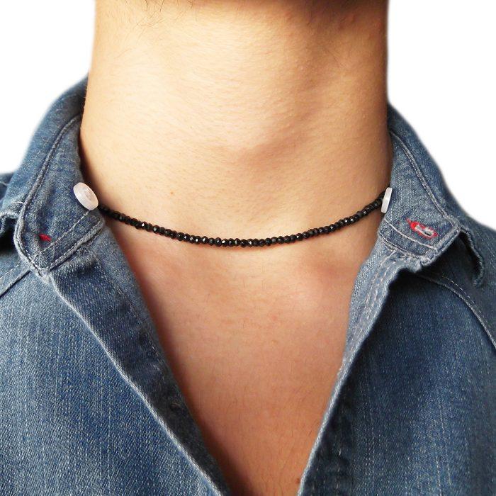 negozio online 51560 eebfe Collana uomo donna girocollo in argento con spinello nero