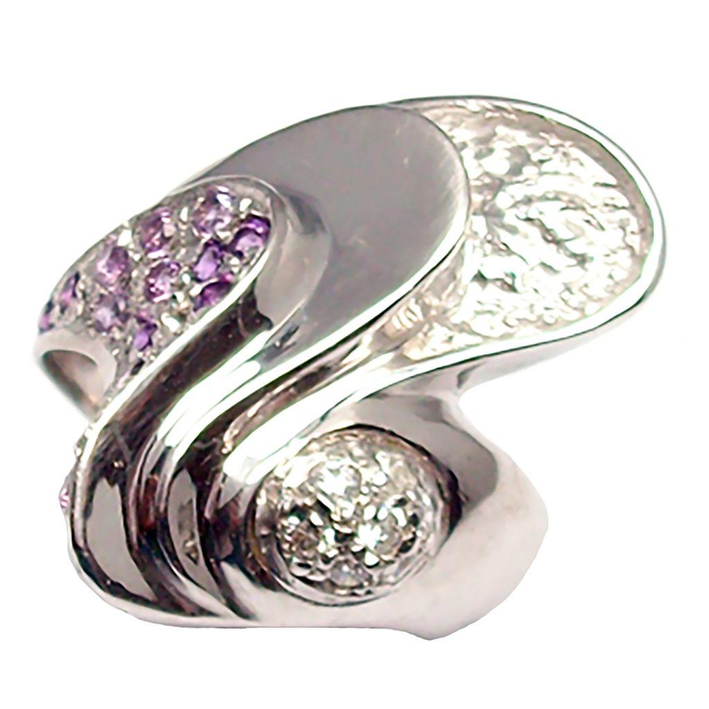 anello a fascia con ametista