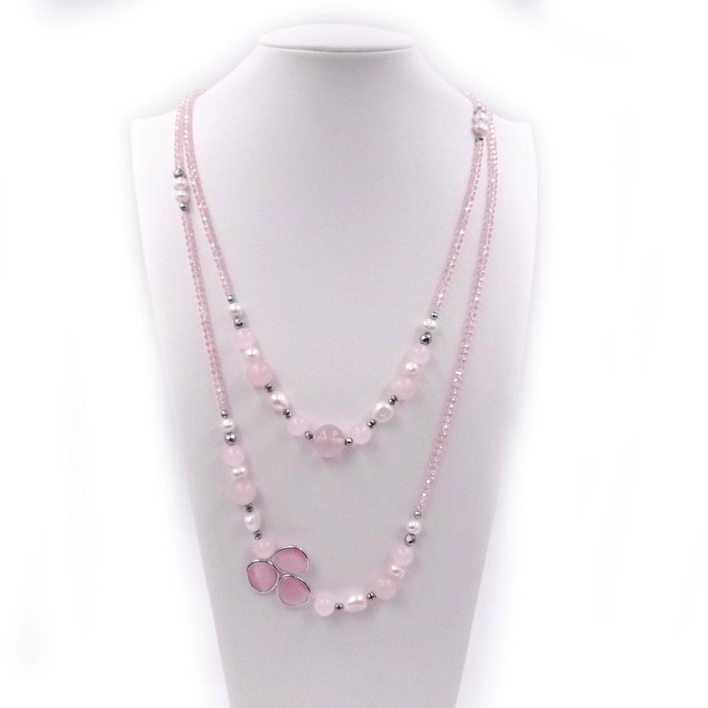 collana lunga donna con quarzo rosa