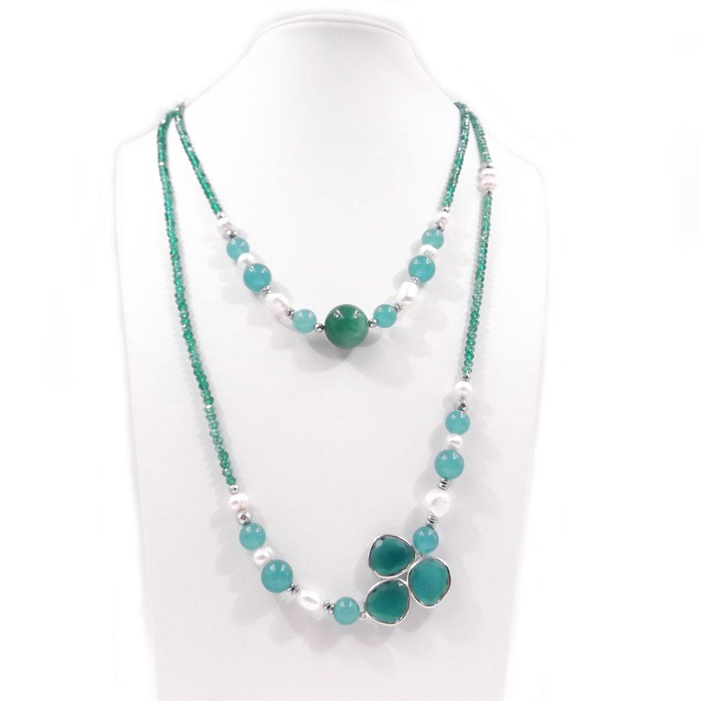 collana donna lunga con agata verde